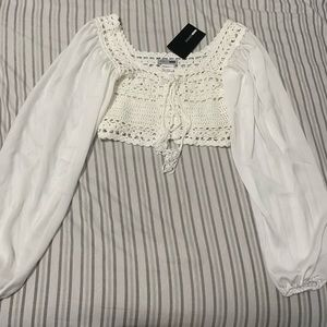 Fashion Nova White Crochet Top